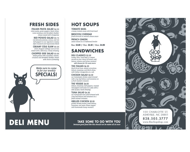 Chop Shop Menu Front