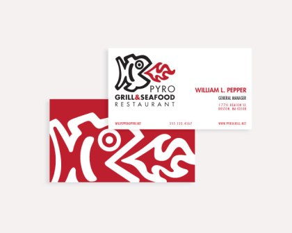 Pyro Grill & Seafood Restaurant Business Card